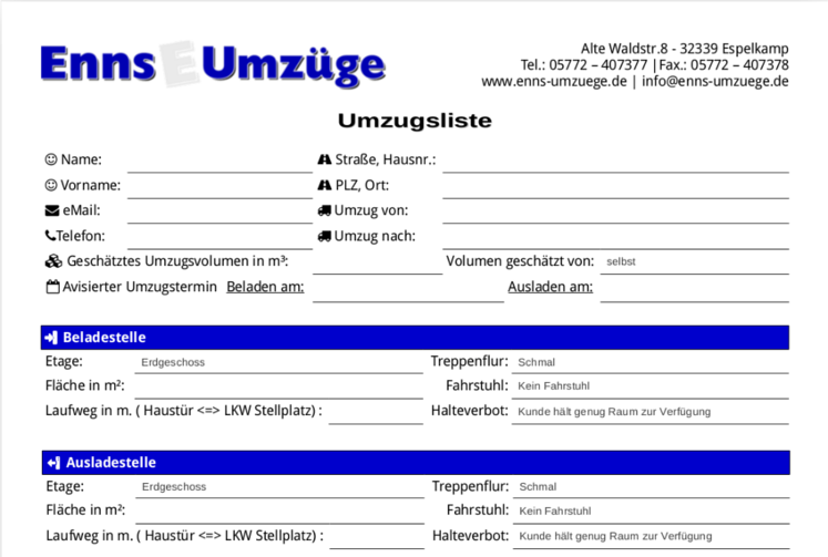 Enns Umzüge - Umzugsliste